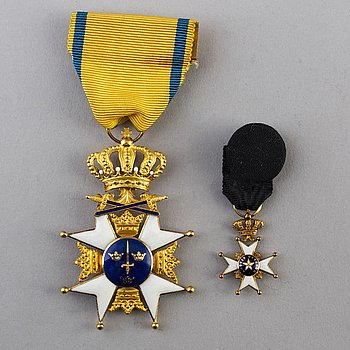 ORDER of the Sword, Sweden, a Knights Cross, 18 k gold and enamel, CF Carlman Stockholm 1957.
