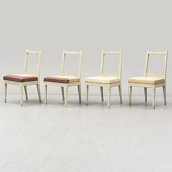 Four painted Gustavian chairs from around 1800.