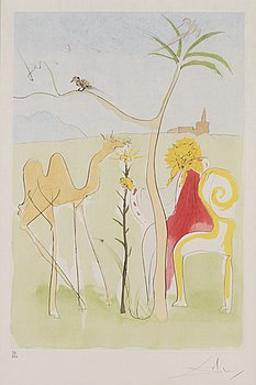 SALVADOR DALÍ, drypoint etching with stencil, signed and numbered 36/250.