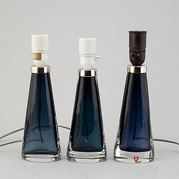 CARL FAGERLUND, BORDSLAMPOR, 3 st, glas, Orrefors, 1900-talets andra hälft.