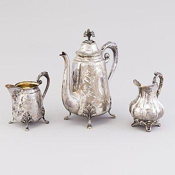 A THREE PIECE COFFEE SET, silver, Turku 1881 and 1883.