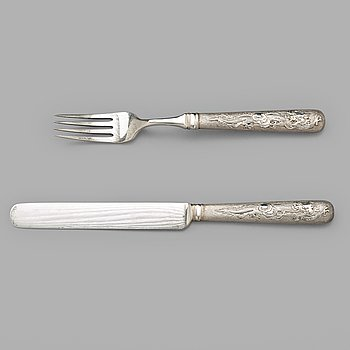 684. A Chinese silver cutlery set, Shanghai, Zee Wo, early 20th Century (12 pieces).