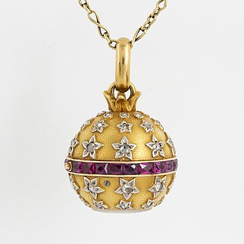 Pendant/watch gold with rose-cut diamonds, rubies, with chain, fitted box.