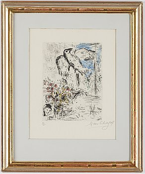 MARC CHAGALL, etching and aquatint with hand colouring, signed and numbered 15/50.