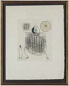 MAX ERNST, colour etching with collage, signed in pencil and numbered with pencil 72/100.
