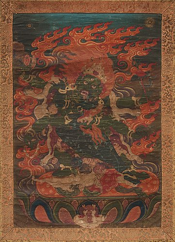 A tibetan thangka, 19th century.