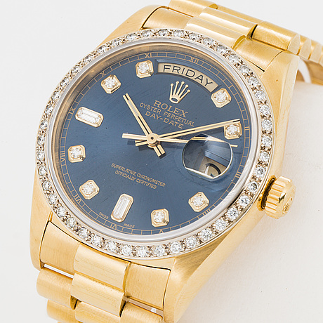 Rolex, oyster perpetual, day date, chronometer, armbandsur, 36 mm,