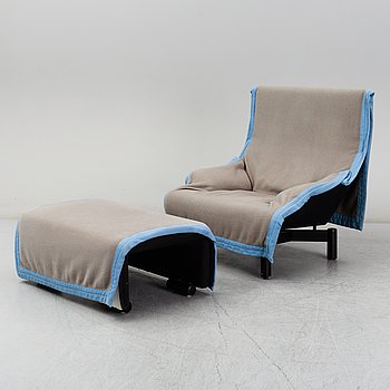"""a lounge chair and one stool, model """"Sinbad"""", Cassina, designed in 1981."""