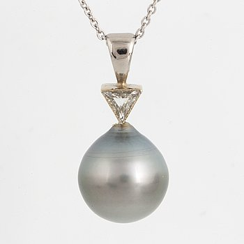 Cultured pearl and triangular diamond pendant, with chain.
