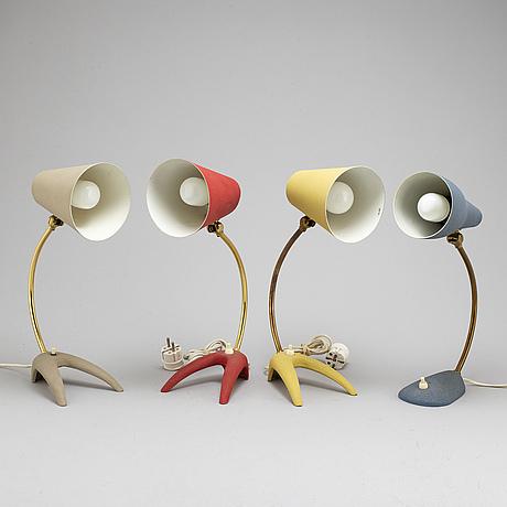 Bordslampor, 4 st, ewå, värnamo, 1900 talets mitt