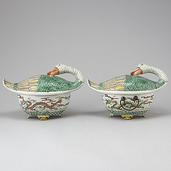 Two Chinese duck tureens with covers, 20th Century.
