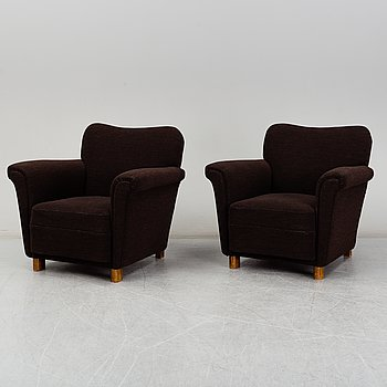 A pair of 1940's easy chairs, probably Danish.