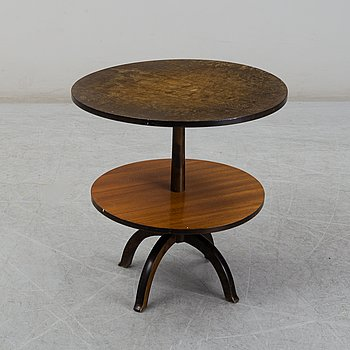 A Swedish Grace stained birch and zebrano veneered table, 1920's/30's.