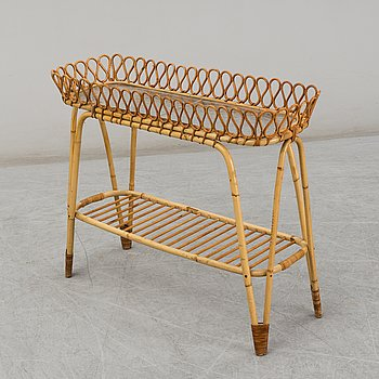 A bamboo and rattan Swedish Modern plant stand, 1940's.