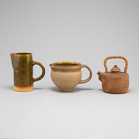 Signe persson melin, tre kannor, stämpelsignerade, 1900 talets andra hälft