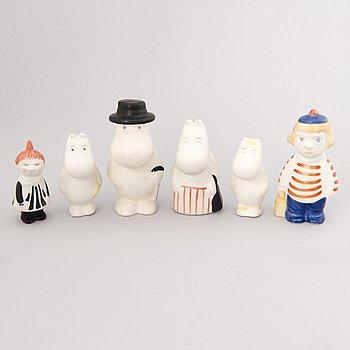TUULIKKI PIETILÄ, Moomin, six different porcelain figurines, Arabia, Finland 1990s.
