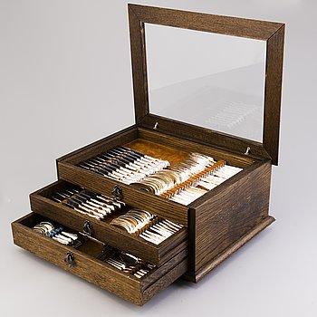 A 12-piece set of 'Chippendale' silver cutlery in wooden box, Kultakeskus, Hämeenlinna, Finland 1983.