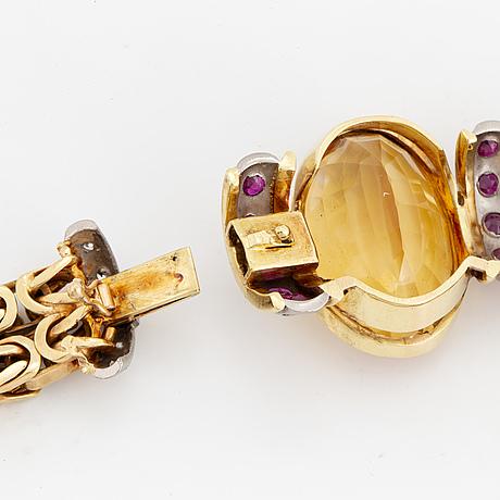Citrine, ruby and brilliant-cut diamond necklace.