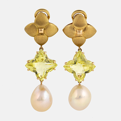 Gaudy, cultured south sea pearl and checker-cut lime quartz earrings.
