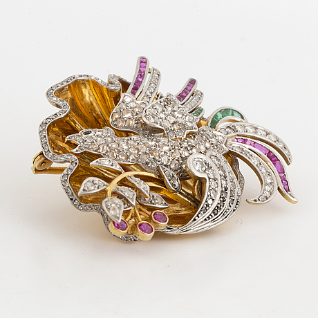Diamond, emerald and ruby brooch, portugal, 18k gold and platinum.