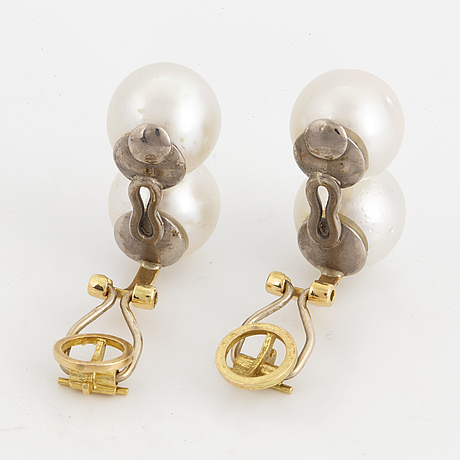 Cultured pearl and brilliant-cut diamond earrings.