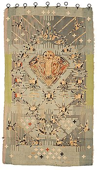 "211. Annie Frykholm, a tapestry, tapestry weave (""Hauteliss textile""), ca 252,5-258 x 141-146 cm, signerad NK TG AFm."