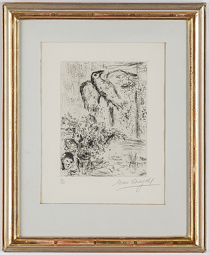 Marc chagall, etching, signed and numbered 35/50.