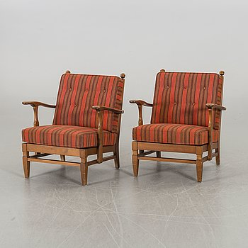 "A pair of 1940's Swedish ""Åre"" pine armchairs by Göperts möbler."