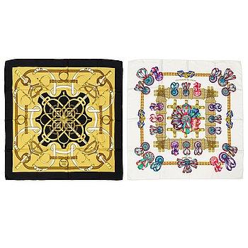 HERMÈS, two silk scarves.