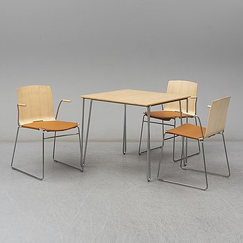 A set of three chairs by Pierre Sindre and a dining table, Gärsnäs.