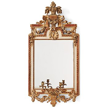 91. A Gustavian late 18th century two-light girandole mirror.