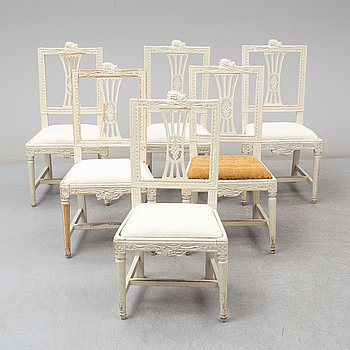 A set of 6 Swedish Gustavian chairs, ca 1800.