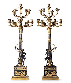 107. A pair of Empire-style ten-light candelabra, second half of the 19th century.