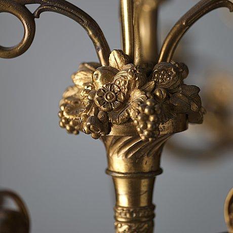 Kandelabrar, för tio ljus, ett par, empirestil, 1800-talets andra hälft.