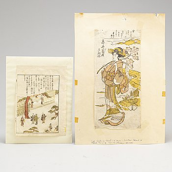 Two Japanese woodblock prints, 19th century.