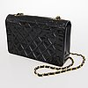 Chanel black patent diana single flap bag.