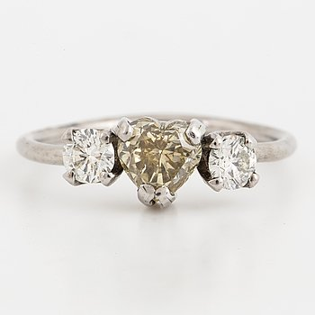 heart shaped yellow diamand, and brilliant-cut diamond ring.
