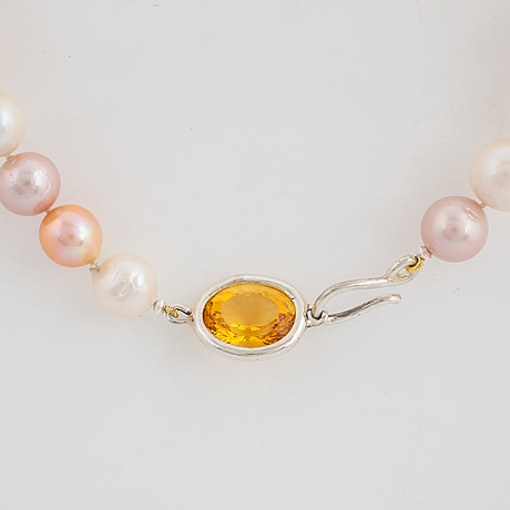Cultured pink yellow white freaswater pearl collier, clas sterling silver with citrine.
