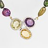 Cultured dyed freshwater pearl necklace, clasp with amethyst, prasiolite and citrine.