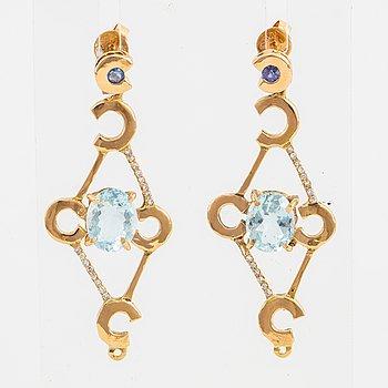 Aquamarine and brilliant-cut diamond and small sapphire earrings.
