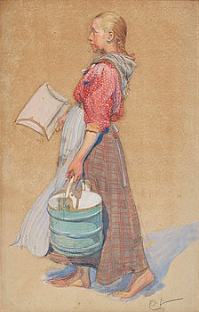 "428. Carl Larsson, ""Flickan med ämbar"" (The girl with a bucket)."