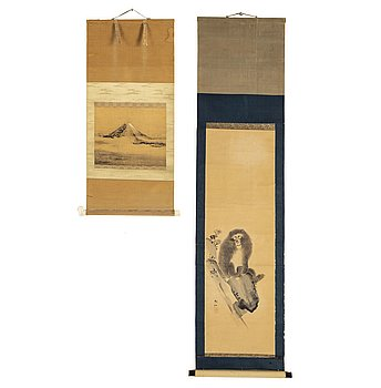 Two Japanese hanging scrolls, unidentified artist. Edo, 19th century.