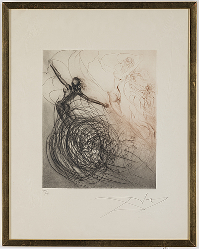 Salvador dali, drypoint etching with hand-colouring, signed and numbered 100/145.