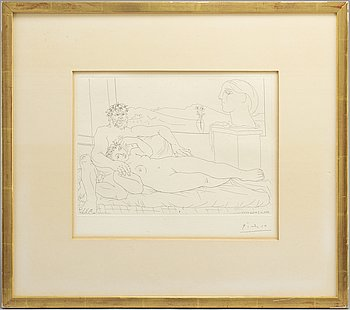 PABLO PICASSO, etching, signed. From: La Suite Vollard, edition of 250.