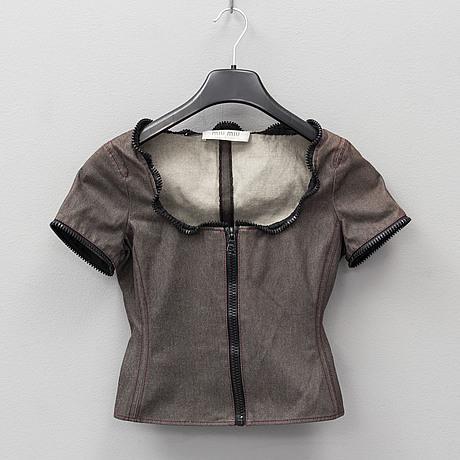 Miu miu, a jeansjacket and a top, jacket italian size 40