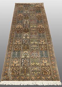 A CARPET Silk Kashmir, ca 243 x 82 cm.