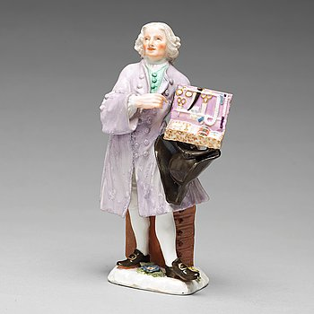 305. A Meissen porcelain figure of a trinket salesman from the series of Parisian street-traders, circa 1745.