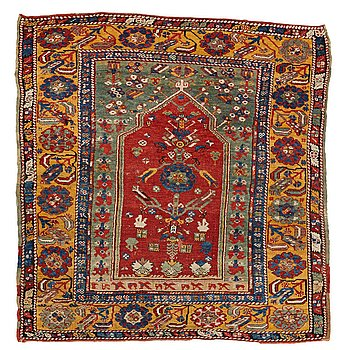 259. A RUG, an antique Anatolian prayer rug, Konya area (a Konya-Ladik), last quarter of the 19th century, ca 118,5 x 114, cm.