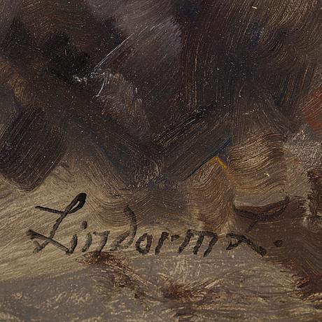 Lindorm liljefors, olja på pannå, signerad