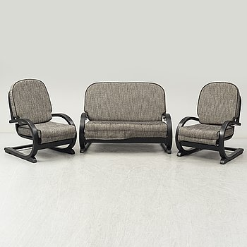 An 'Famulus' sofa and two easy chairs by JP Hully with RD number 809095 for 1936, by Gane Ltd.